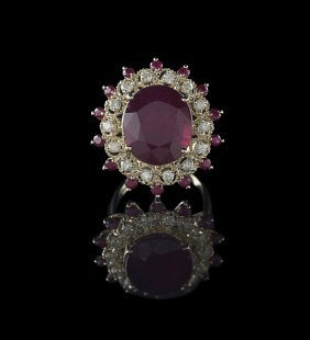 14 Kt. Yellow Gold, Ruby and Diamond Ring