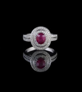 18 Kt. White Gold, Ruby and Diamond Ring