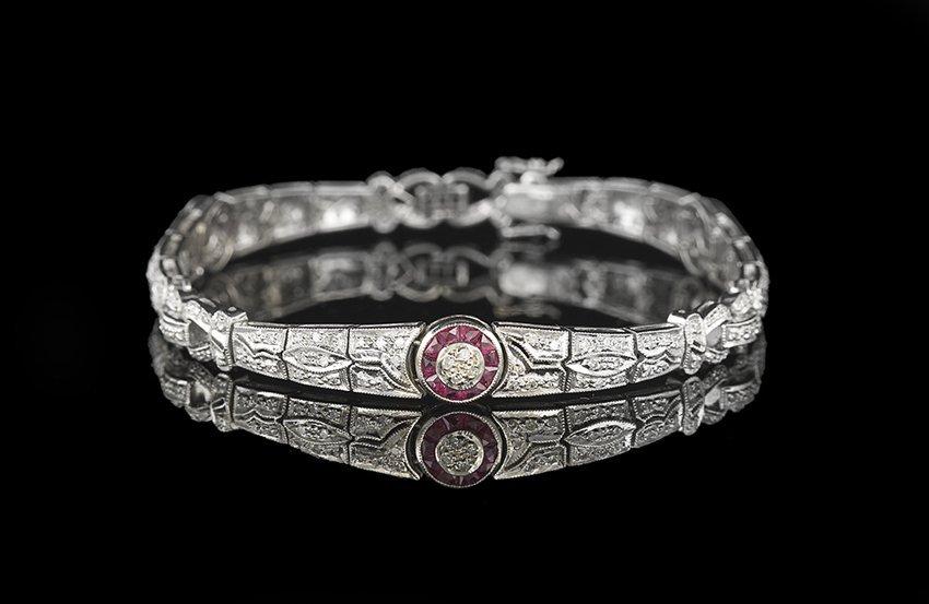 18 Kt. White Gold, Diamond and Ruby Bracelet