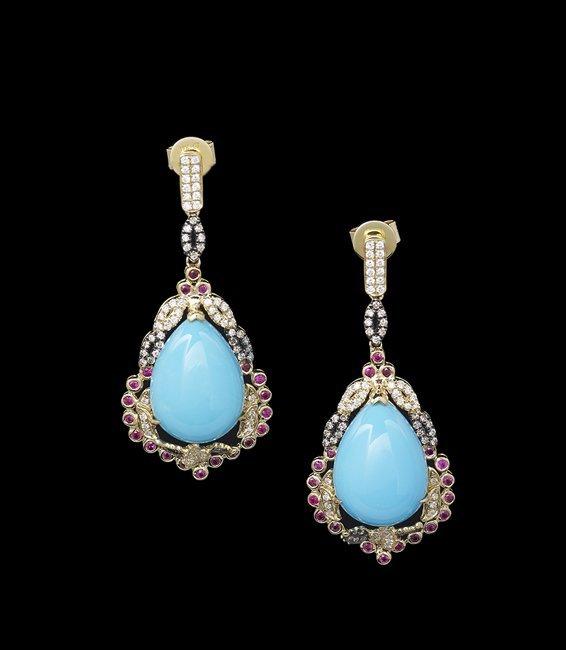 Pair of 18 Kt. Gold, Turquoise & Diamond Earrings