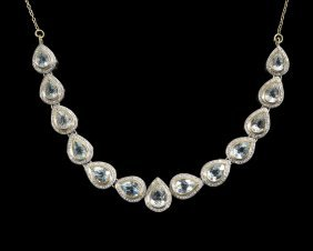 14 Kt. Gold, Vermeil, Topaz and Diamond Necklace