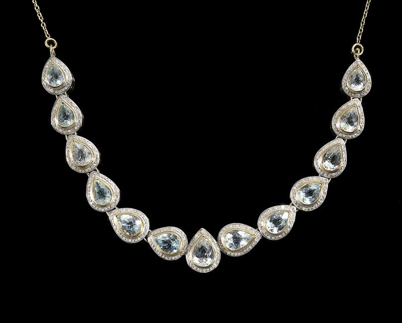 14 Kt. Gold, Vermeil, Topaz and Diamond Necklace