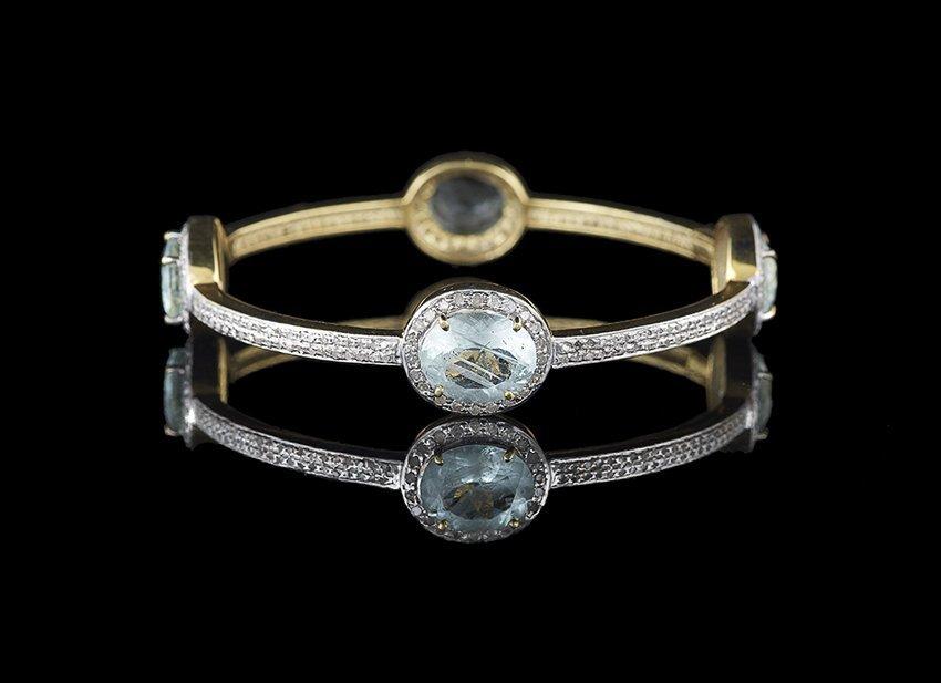Vermeil, Aquamarine and Diamond Bangle Bracelet