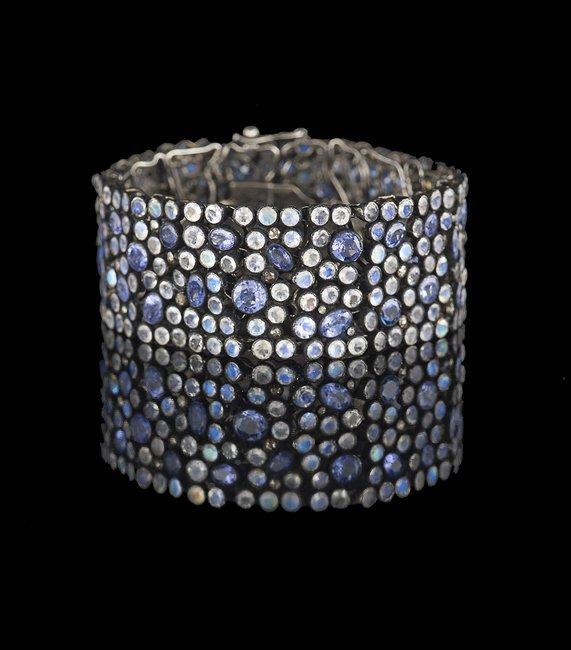 Silver, Tanzanite, Moonstone & Diamond Bracelet