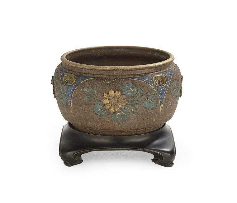 Rare Stoneware and Bronze Japonesque Jardiniere