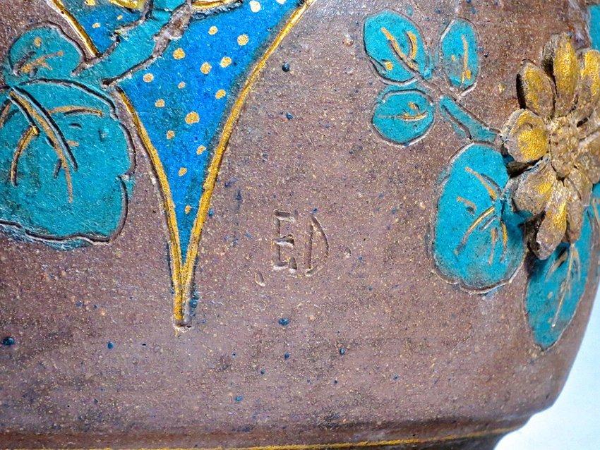 Rare Stoneware and Bronze Japonesque Jardiniere - 6