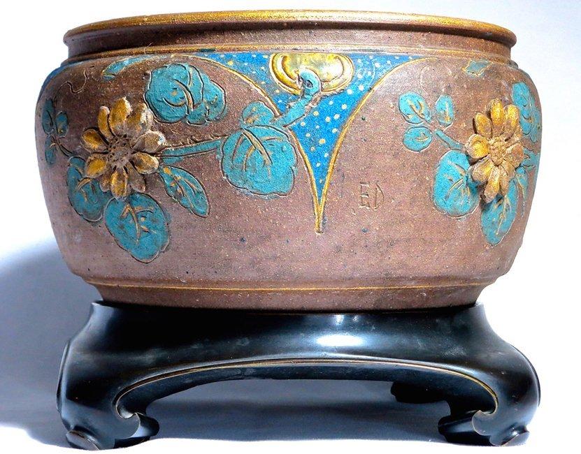 Rare Stoneware and Bronze Japonesque Jardiniere - 7