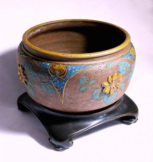 Rare Stoneware and Bronze Japonesque Jardiniere - 8
