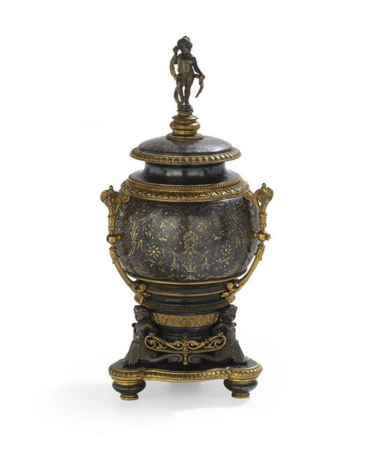 French Renaissance-Style Bronze Covered Urn