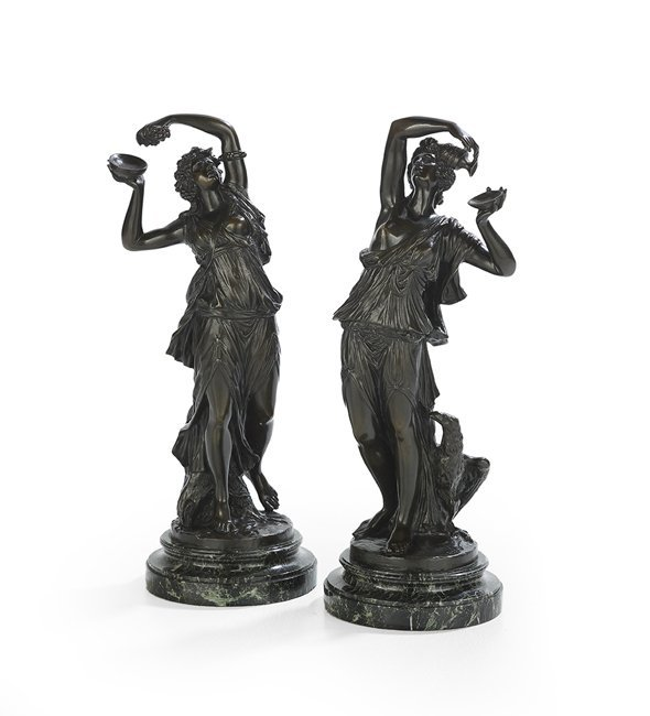 Pair of French Patinated Bronzes of Bacchantes