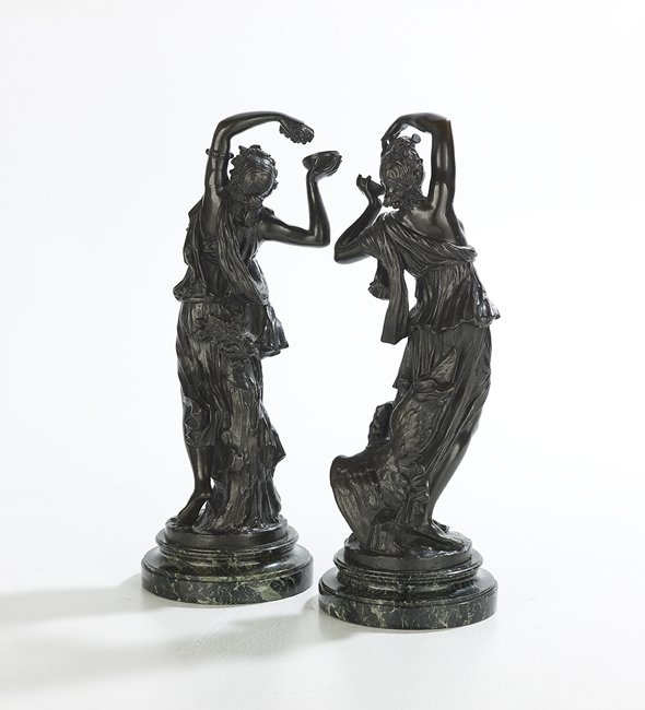Pair of French Patinated Bronzes of Bacchantes - 2