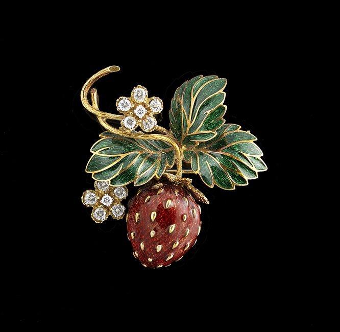 18 Kt. Gold, Diamond and Enamel Strawberry Pin