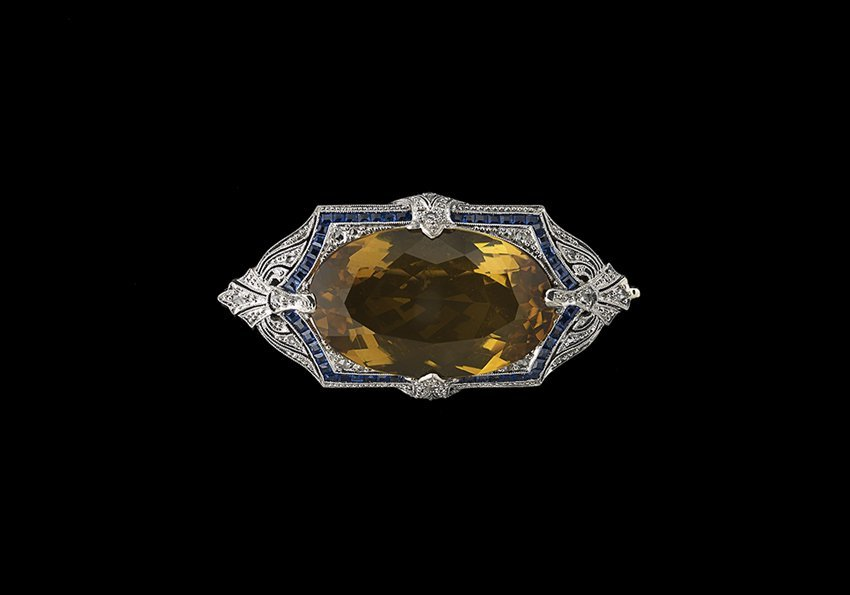 14 Kt. Gold, Citrine, Sapphire and Diamond Pin