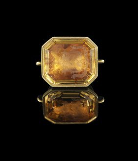 Regency 18 Kt. Gold and Citrine Armorial Fob Seal