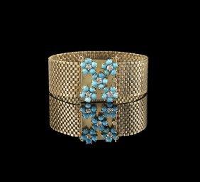 14 Kt. Gold, Turquoise and Diamond Bracelet