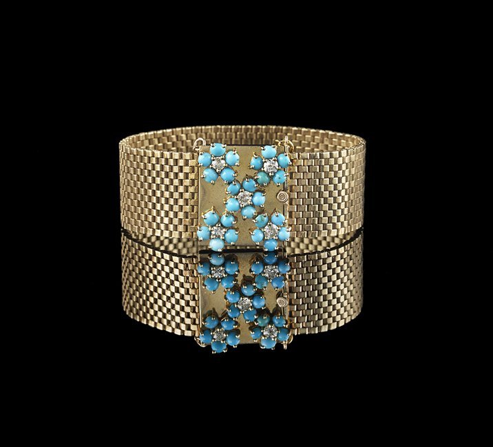 14 Kt. Gold, Turquoise and Diamond Bracelet