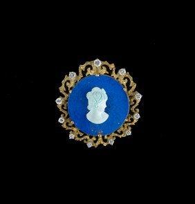 18 Kt. Gold, Lapis, Turquoise & Diamond Brooch