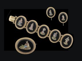 Antique 18 Kt. Gold & Micro-Mosaic Jewelry Suite