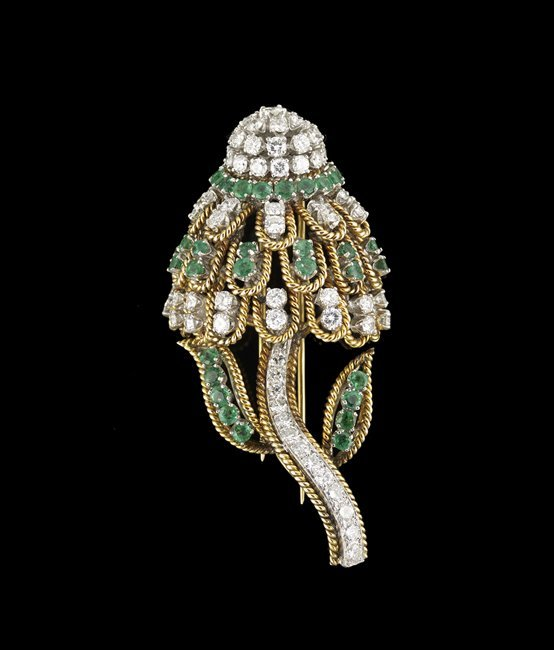 18 Kt. Gold, Emerald and Diamond Brooch
