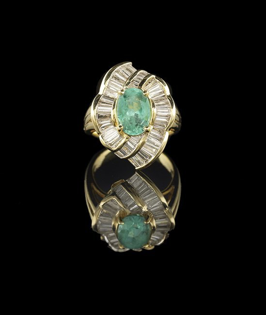 18 Kt. Gold, Emerald and Diamond Ring