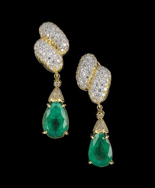18 Kt. Gold, Emerald and Diamond Earrings