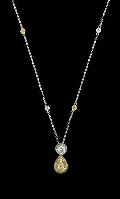 18 Kt. Gold and Yellow/White Diamond Pendant
