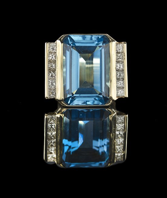 14 Kt. Gold, Blue Topaz & Diamond Cocktail Ring