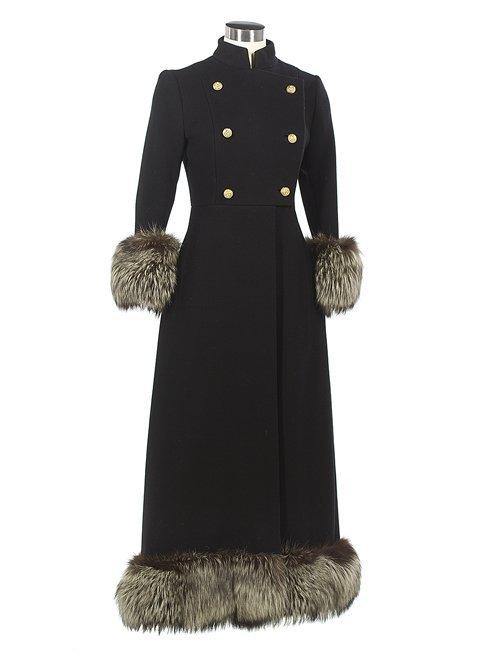 Fox-Trimmed Black Wool Full-Length Coat
