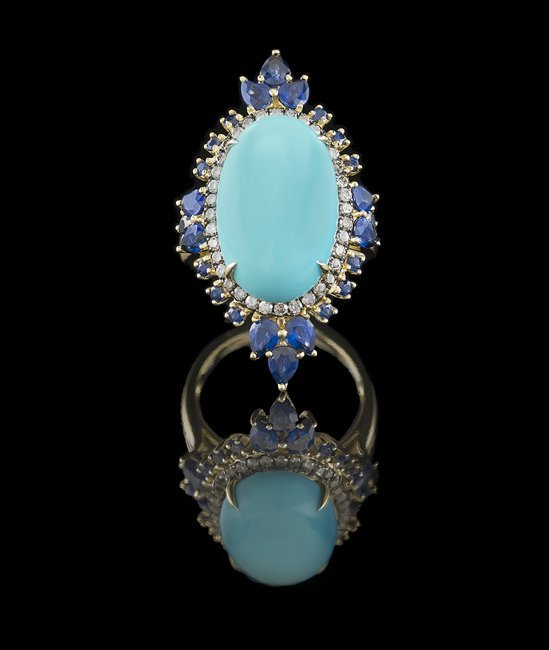 18 Kt. Gold, Turquoise, Sapphire and Diamond Ring