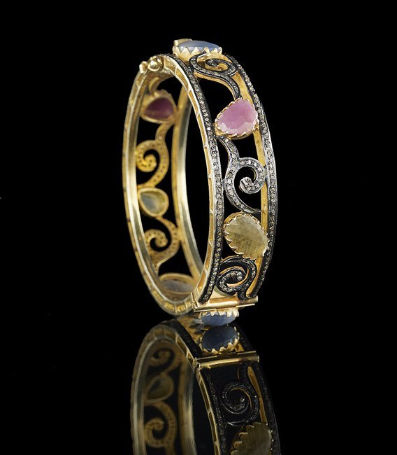 18 Kt. Gold Vermeil, Sapphire & Diamond Bracelet