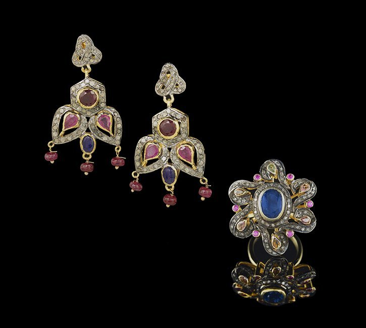 Vermeil, Diamond and Multi-Stone Ring & Earrings