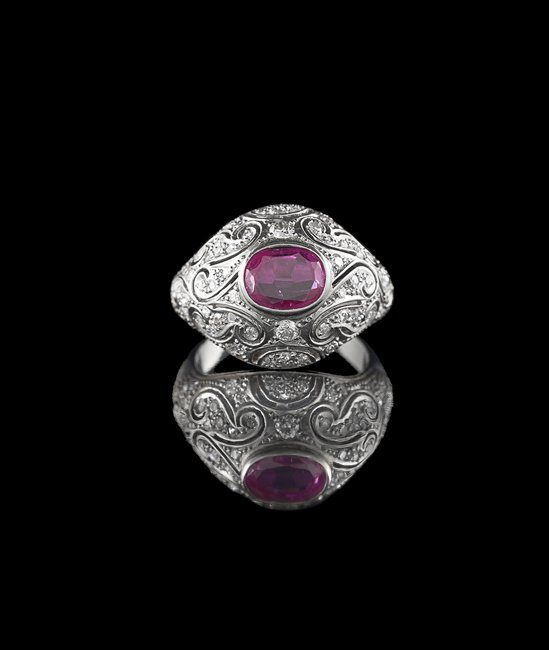 18 Kt./Yellow Gold, Ruby and Diamond Ring