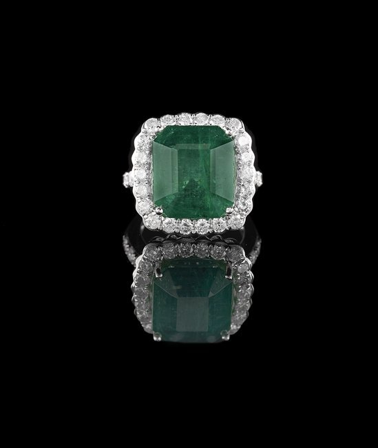14 Kt. Gold, Emerald and Diamond Ring