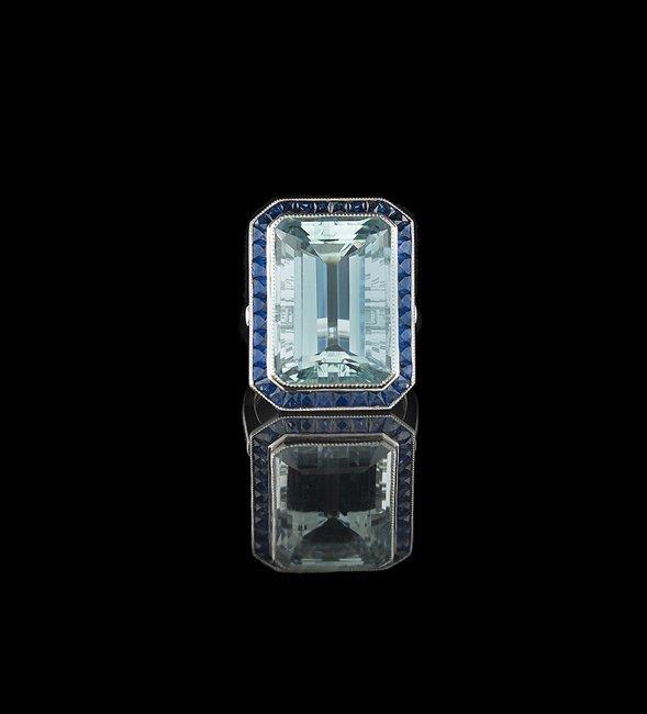 Platinum, Aquamarine, Sapphire and Diamond Ring