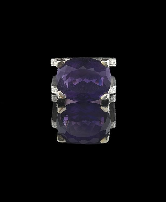 18 Kt. Gold, Amethyst and Diamond Ring - 2