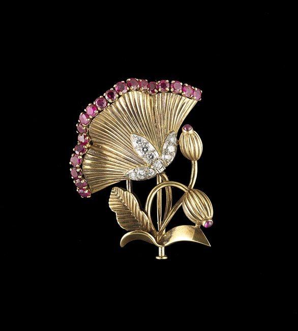 French 18 Kt. Gold, Diamond and Ruby Brooch