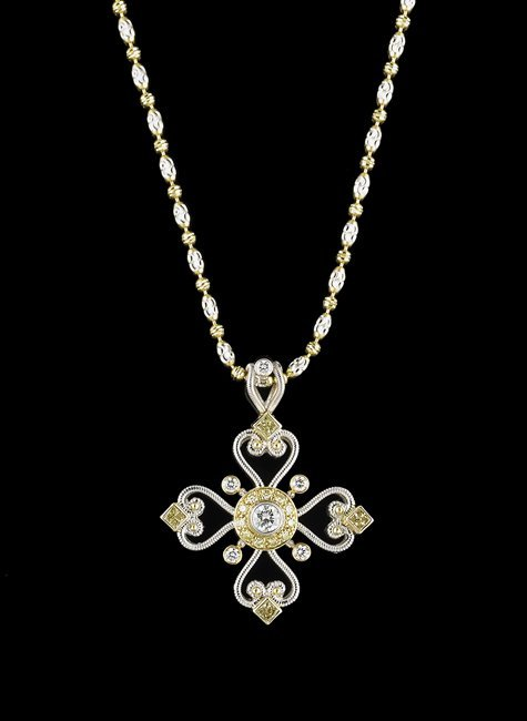 18 Kt. Gold and White/Yellow Diamond Pendant
