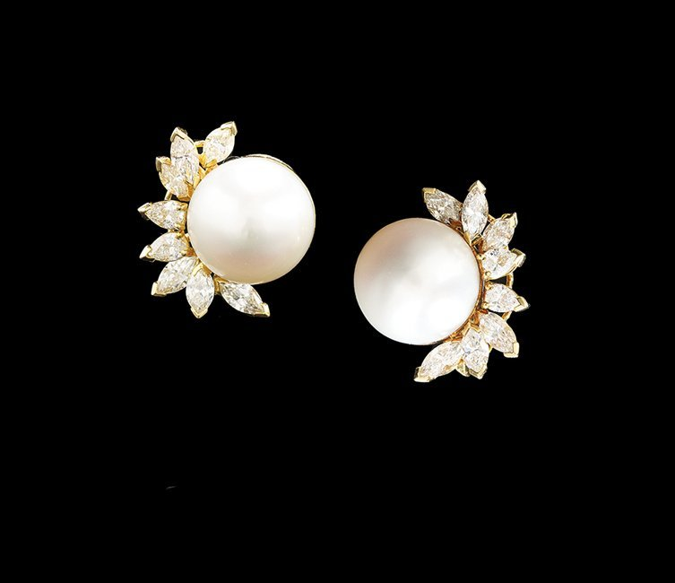 Fine South Sea Pearl and Diamond Earrings