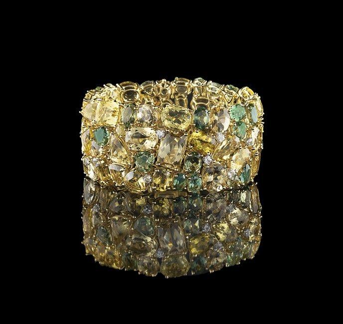 Stunning 18 Kt. Gold and Multi-Stone Bracelet