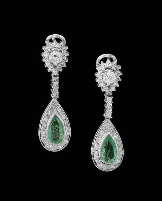 18 Kt. Gold, Emerald and Diamond Dangle Earrings