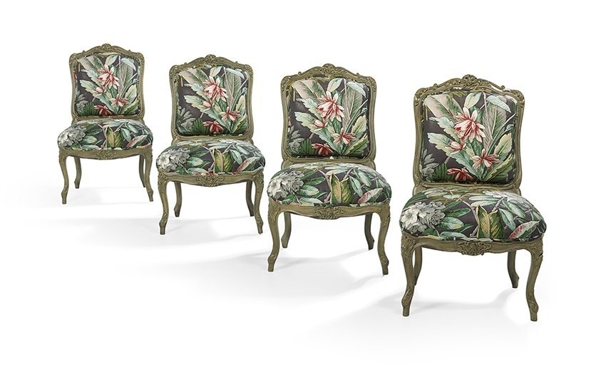 Four Louis XV-Style Polychrome Sidechairs