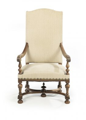 Louis XIII-Style Fruitwood Fauteuil a la Reine