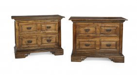 Pair of Provincial Fruitwood Commodes