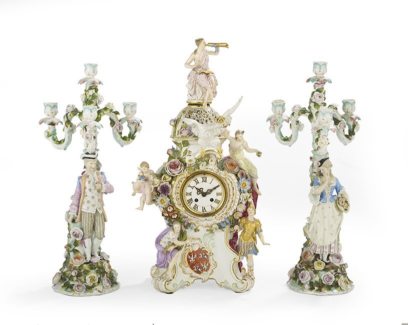 Assembled Three-Piece German Porcelain Clock Set