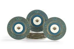Twelve George Jones Enameled Dinner Plates