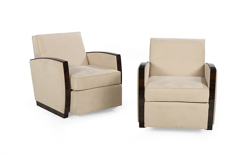 Pair of French Art Deco-Style Club Chairs