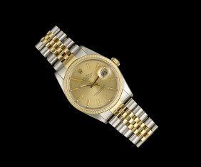"""Rolex Gold/Stainless Steel """"Datejust"""" Wristwatch"""