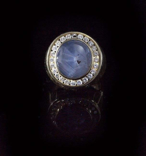 Men's 18 Kt. Gold, Star Sapphire and Diamond Ring