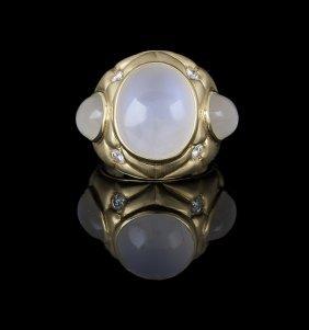 Men's 18 Kt. Gold, Moonstone and Diamond Ring