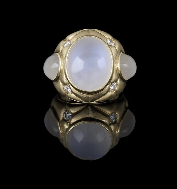 Men's 18 Kt. Gold, Moonstone and Diamond Ring